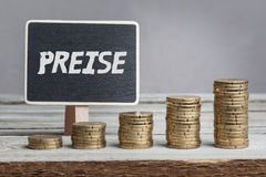 Prices in German language on sign Stock Images