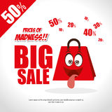 Prices of madness big sale fun bag. Vector illustration eps 10 Stock Image