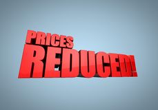 Prices Reduced. ! in large bold red block letters royalty free illustration