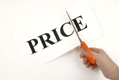 Prices and sales. In the shops Stock Photo
