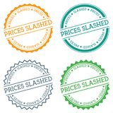 Prices slashed badge isolated on white background. Flat style round label with text. Circular emblem vector illustration Stock Images