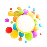 Pricetag offer plate copyspace emblem. As group of glossy spheres isolated Royalty Free Stock Photo