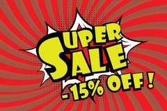 Pricetag superbe de vente dans le style comique d'art de bruit, - 15% escomptent, illustration de vecteur