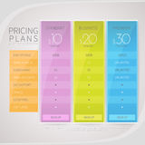 Pricing comparison table set for commercial business web services and applications. Design element interface for website, banners, hosting, ui, ux, mobile app Stock Photography