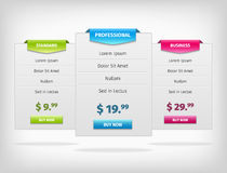 Pricing hosting banner plans table Royalty Free Stock Photography