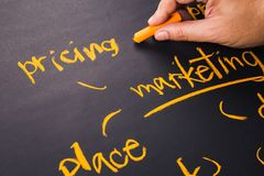 Pricing Plan. Hand write a Pricing word for Marketing Plan on chalkboard Royalty Free Stock Photography