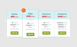 Pricing plan web page template, table design Royalty Free Stock Images