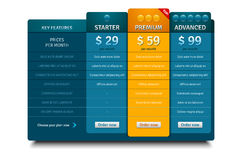 Pricing plans template for websites and applications Royalty Free Stock Photo