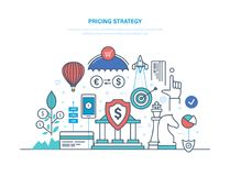 Pricing strategy. Marketing politics, competition in market economy, profit, growth. Pricing strategy concept. Marketing politics, competition in market economy vector illustration