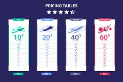 Pricing Table 4 Different Plane Vector Template Dark Concept Design vector illustration