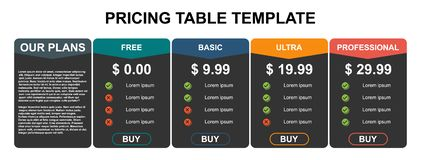 Pricing table, plan  list, or comparison template vector. Business presentation, infographic, website element, hosting plan
