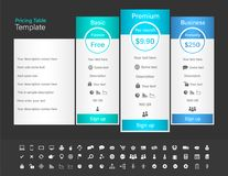 Pricing table with 3 plans and one recommended. Bl Royalty Free Stock Images