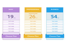 Pricing table Stock Photos