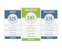 Pricing Table Royalty Free Stock Photo
