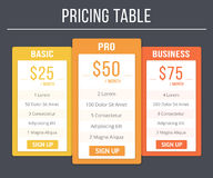 Pricing Table Royalty Free Stock Photography