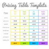 Pricing Table Template Stock Photos