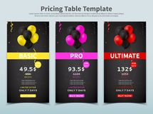 Pricing table templates with different plans Stock Images