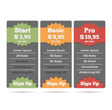 Pricing Table Royalty Free Stock Images
