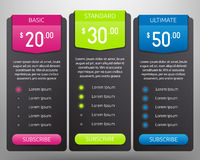 Pricing Tables Mock Up Royalty Free Stock Images
