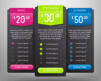 Pricing Tables Mock Up Royalty Free Stock Photo