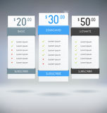 Pricing Tables Stock Photography