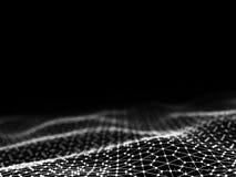 prickar och linjer för abstrakt begrepp för tolkning 3d futuristiska geometrisk digital anslutningsstruktur för dator Arkivbild