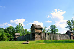 Prickett's Fort; Fairmont, WV. Prickett's Fort just outside of Fairmont West Virginia sits under a blue sky in the summertime. The Fort is the centerpiece of a Stock Photos