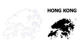 Prickig översikt för vektorkontur av Hong Kong med överskrift stock illustrationer