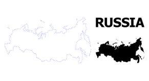 Prickig översikt för vektorkontur av Ryssland med överskrift stock illustrationer