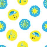 Prickig bakgrund för väder Sömlös modell med guling- och blåttcirklar royaltyfri illustrationer