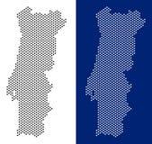 Prickig Portugal översikt stock illustrationer