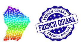 Prickig regnbågeöversikt av Franska Guyana och Grungestämpelskyddsremsan stock illustrationer