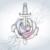 Prickig rosblomma och dolk på den texturerade gråa bakgrunden med virvlar Symbolisk tatuering med blom- beståndsdelar i dotworkst stock illustrationer