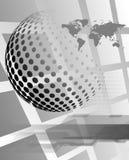 Prickig sfär med översikten av världen på en högteknologisk grå bakgrund Royaltyfri Fotografi