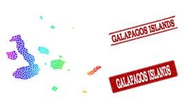 Prickig spektrumöversikt av Galapagos öar och Grungestämpelskyddsremsor vektor illustrationer