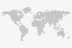 Prickig världskarta i grå färger på en vit bakgrund Arkivbild