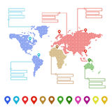 Prickig världskarta med pekarefläckar och textställen Begrepp för din design vektor illustrationer