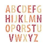 Prickigt alfabet för vektor Rundad stilsort med prickeffektbokstäver Gullig abc-design Arkivbilder