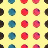 Prickigt pop Art Background, pop Art Pattern Symbolisk bakgrund av konst av 60-tal Bakgrund f?r cirkelkonstrunda seamless modell vektor illustrationer