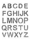 Prickigt rastrerat alfabet också vektor för coreldrawillustration Arkivbild