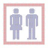 Prickigt tecken för mannen och kvinnan, cirkelprickar stock illustrationer