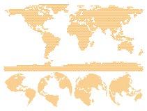 Prickigt världskartajordklot som göras av cirkelformer Arkivfoto
