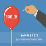 Pricking red balloon with needle. Man holding needle and bursts red balloon with the text problem. Easiest way to get rid of the problems concept. Vector Stock Photo