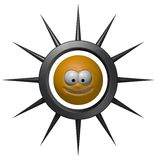 Prickles. Grining smiley in prickles ring - 3d illustration Stock Images