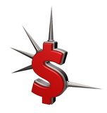 Prickles dollar. Dollar symbol with prickles on white background - 3d illustration Royalty Free Stock Photography