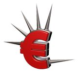 Prickles euro. Euro symbol with prickles on white background - 3d illustration Stock Photography