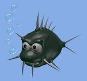 Prickles fish. Strange cartoon thorns fish - 3d illustration Royalty Free Stock Photo