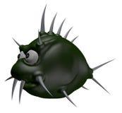 Prickles fish. Strange cartoon thorns fish - 3d illustration Stock Photo