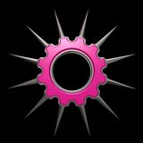 Prickles gear wheel. Gear wheel with prickles on black background - 3d illustration Royalty Free Stock Image