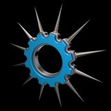 Prickles gear wheel. Gear wheel with prickles on black background - 3d illustration Royalty Free Stock Images